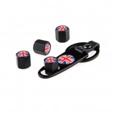 4pcs Aluminum Tyre Valve Cap - UK Flag + Key Chain