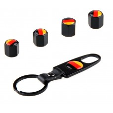 4pcs Aluminum Tyre Valve Cap - Germany Flag + Key Chain
