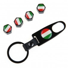 4pcs Aluminum Tyre Valve Cap - Italy Flag + Key Chain