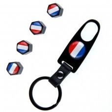 4pcs Aluminum Tyre Valve Cap - France Flag + Key Chain