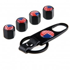 4pcs Aluminum Tyre Valve Cap - USA Flag + Key Chain