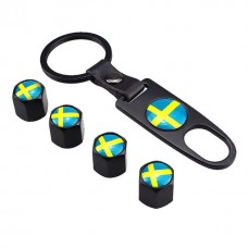 4pcs Aluminum Tyre Valve Cap - Swedish Flag + Key Chain