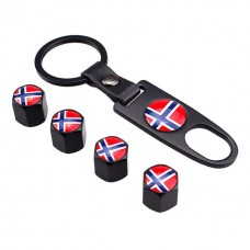 4pcs Aluminum Tyre Valve Cap - Norway Flag + Key Chain